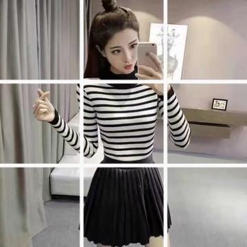 660 # spring women Korean fashion semi-high collar sweater striped knit bottom shirt