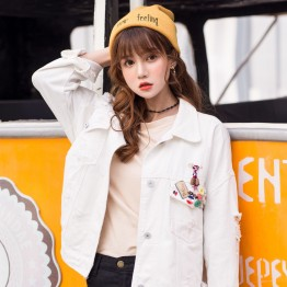 8655 retro badge loose long sleeve denim jacket