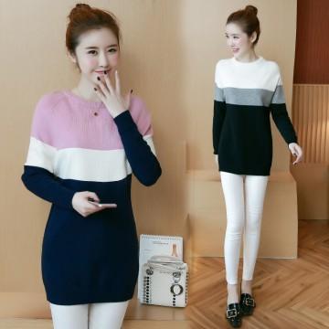 8047# Plus size women's fall new long bottom shirt sweater