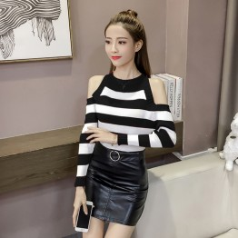 159 women's long sleeve stripes off shoulder bottoming knitting shirt