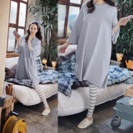 8608 large size pajamas long sleeves shirt with striped pants