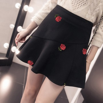 9018 autumn and winter empire waist embroidery A-line short skirt