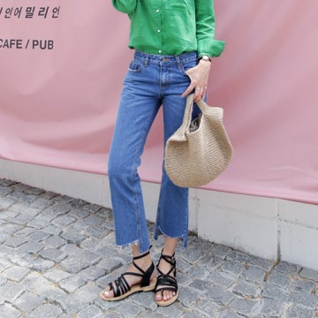 Student burr straight loose nine points high waist Harlan wide leg pants BF wind was thin casual jeans female # 9009