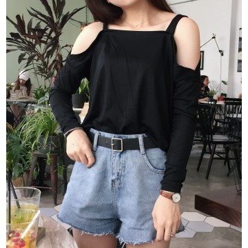 592 # real shot Korea chic casual sling strapless long-sleeved wild TEE blouse
