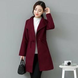 8201 slim waist lapel woolen coat