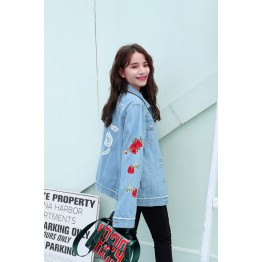 1438 rose embroidery letters and snake printed backl denim jacket