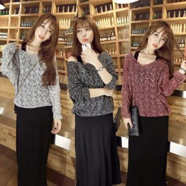 8068 women's bat sleeves V-neck sweater with vest dress