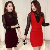 Elegant strap skirt autumn and winter woolen skirt dress 0886