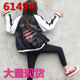 6149 two sides wear bracelet embroidered baseball jacket