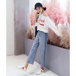 8368 Korean fashion high waist loose ribs wide leg jeans
