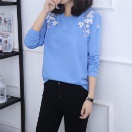 Loose Sleeve Sweater Female Student Long Sleeve Bottom Shirt 2017 Autumn New Women's Tide Korean T-shirt