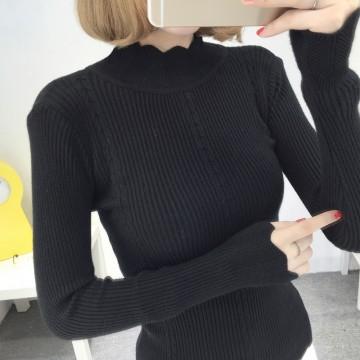 8078# autumn and winter new semi-high collar sweater