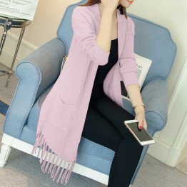 5096 autumn new hem tassel knitted cardigan sweater