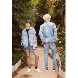 1767 back embroidery embroidered rose rivet denim jacket