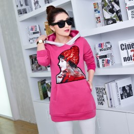 5350 thickening woolen girl pattern sweatshirt