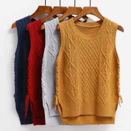 6697 women's lacing knitted vest
