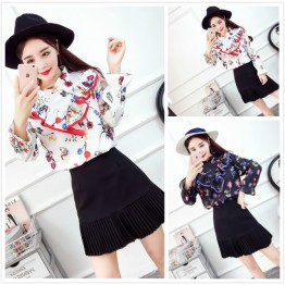 4323 Floral Printed Long Sleeve Shirt with High Waist Pleated Skirt