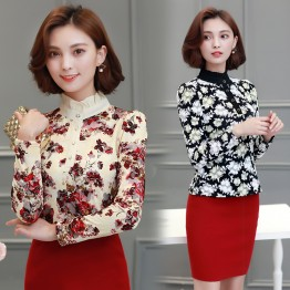 9003 wool lining chiffon long sleeve lace shirt