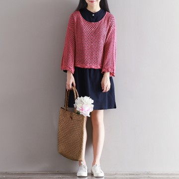 1832 # model real shot Anne forest art sweater long-sleeved hollow sweater woman sets of solid color shirt
