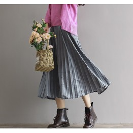 1866 retro velvet pleated skirt