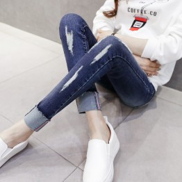 126 pregnant women autumn and winter holes slim pencil jeans