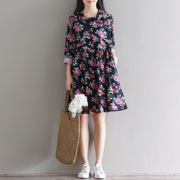 5831 fresh printing slim long sleeves cotton and linen dress