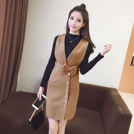 6201 Long Sleeve Slim Woolen Dress with knitting tops