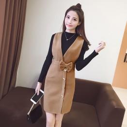Long Sleeve Slim Shirt Woolen Jacket Dress is thin two sets of women autumn 2017