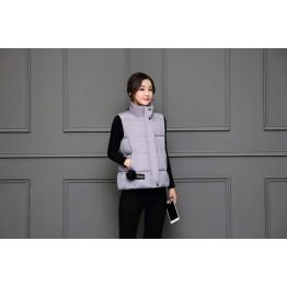 1620 stand collar down short vest jacket