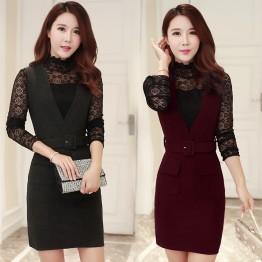 0886 Elegant strap woolen vest dress