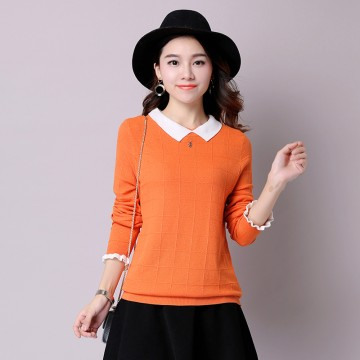 2017 autumn and winter Korean women sweet lace sleeves solid color sweater lapel sweater shirt 8066