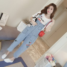916 floral embroidered suspender jeans