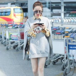 1389  gray embroidery printed sweater with yellow shirt