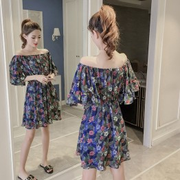 7210 boat neck temperament floral chiffon short sleeve dress