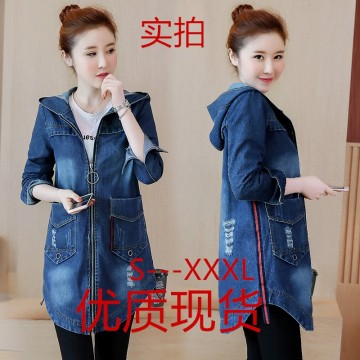 882 # real shot 2017 spring and autumn new Korean denim jacket female mid section hooded big size women's jacket