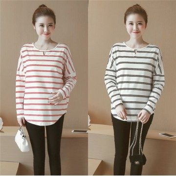 6681 # real shot 2017 autumn long-sleeved maternity pregnant women cotton stripes T-shirt cotton pregnant women coat T
