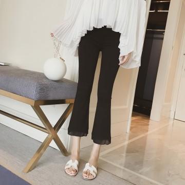 2017 summer new black was thin speaker nine pants pants Hong Kong taste Slim high waist leisure wide leg pants tide