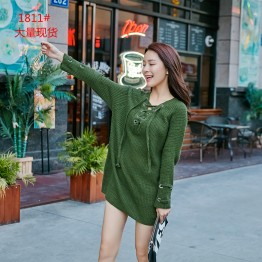 181 Korean fashion long loose V collar personalized sweater