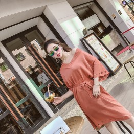 3523 Korean temperament V-neck loose speaker sleeves tie waist knit dress