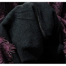 9230 Korean fashion lace hook flowers wool lining dress