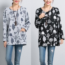 8266 plus size cotton printed long-sleeved round neck loose T-shirt