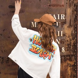 8652 letters print loose boyfriend style denim jacket