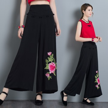 329 # cotton and linen embroidery large size national wide leg pants