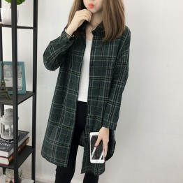 6419 Hong Kong style fresh plaid chiffon sunscreen chic shirt