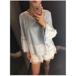 801 blue and white vertical strip eyelash lace shirt