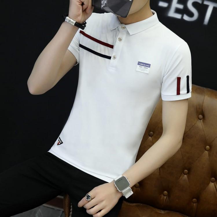 9fcb19f0935 Men s summer collar collar short sleeve t-shirt male lapel collar Paul Slim  Korean youth