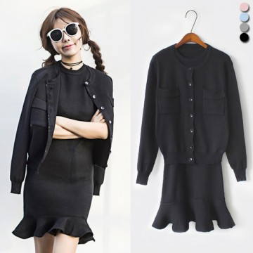 1130 Korean fashion slim long sleeve knit cardigan jacket and fish tail dress two pieces