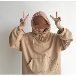 171 simple color loose hooded sweatshirt
