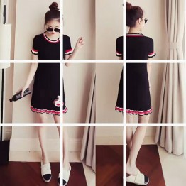 1164 Korean fashion short-sleeved ice silk sweet embroidery knit dress