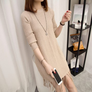 Korean fashion women autumn and winter loose A-line tassel round neck sweater